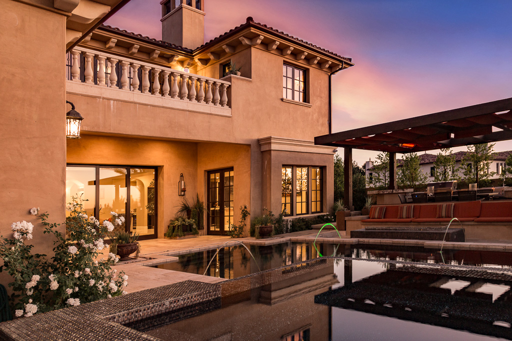 Southern California home at twilight